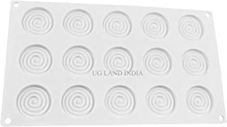 UG LAND INDIA 15 Cavity 3D Spiral Design Round Ring Silicone Mould Insert Decor Mousse Cake Decorating Chocolate Ice Cream...