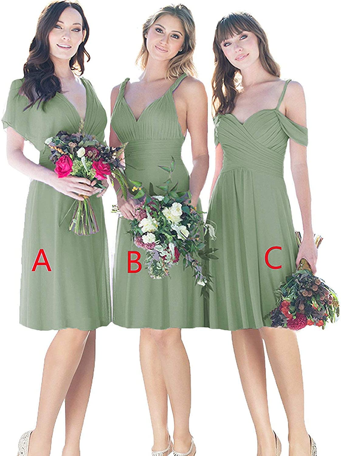 Mismatched Knee Length Bridesmaid Party Dresses Short Pleated Chiffon Formal Evening Dress B030