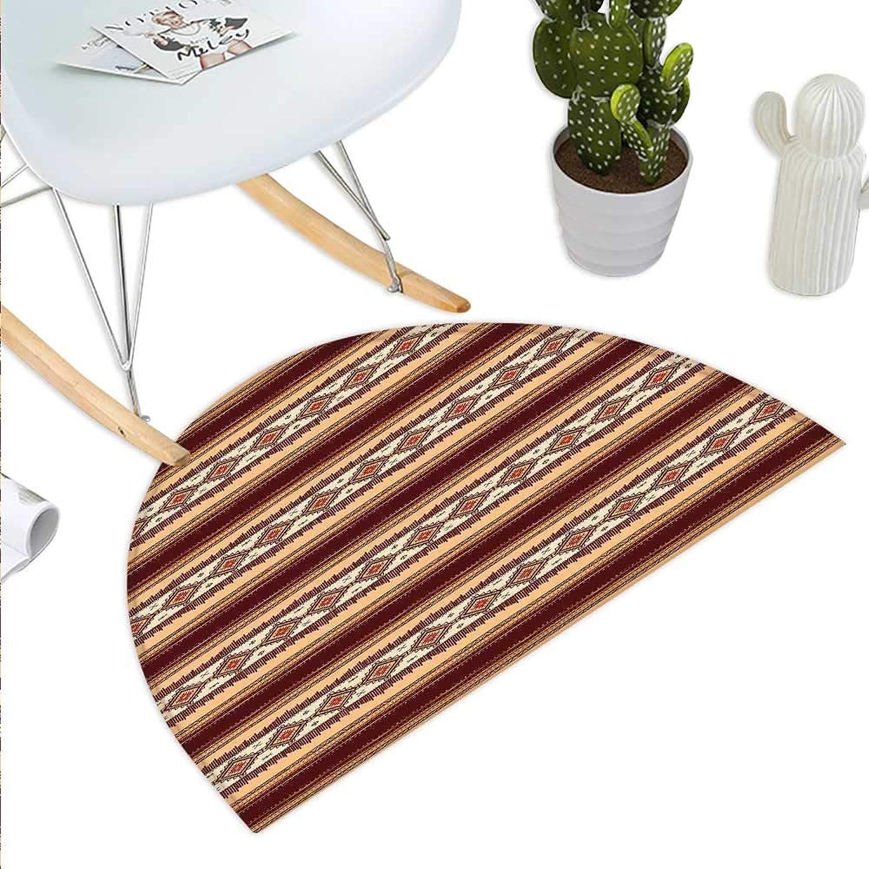 Native American Decor Semicircle Doormat Native Ethnic Tribal Indigenous Pattern Halfmoon doormats H 43.3  xD 64.9
