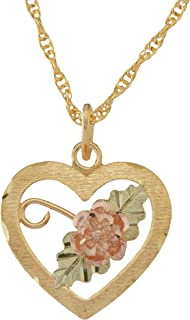 product image for Black Hills Gold Heart Pendant Necklace with Rose and Leaves