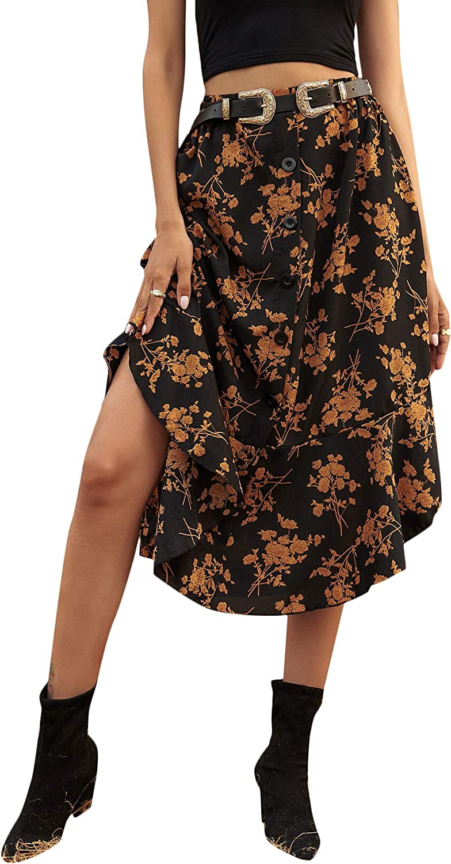 SheIn Women's Floral Print Button Front Ruffle Hem High Waist A Line Midi Skirts