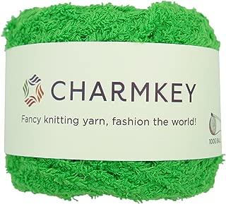 One Skein Warm Coral Fleece Fluffy Knitting Yarn - Charmkey Shaggy Fur Yarn 100 Percent Polyester Velvet Knitting Yarn 12 Ply for Fluffy Dolls Blanket Furry Amigurumi Toys, 3.53 Ounce (Classic Green)