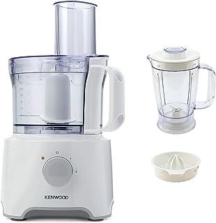 Kenwood Food Processor, 2.1 Litre Bowl, 1.2 Litre Blender, Emulsifying, Knife Blade, Dough Tool, Reversible Slicing and Grating Discs, 800 W, FDP303WH, White