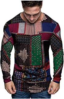 TANLANG Men's Fashion Casual Print Long Sleeve Round Neck Imitation Cotton and Linen Top Pullover Sweatshirt Outwear Blouse