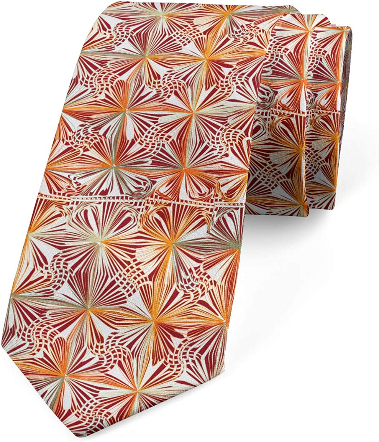 Ambesonne Spring Necktie, Traditional Bohemian Style Flower Pattern and Swirly Leaves Petals, 3.7
