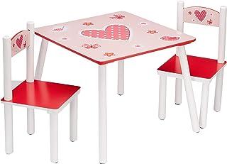 comprar comparacion Kesper 17722 1 - Mesa Infantil con 2 sillas y Dibujos de Corazones (conglomerado de Fibra de Madera de Densidad Media, FSC)