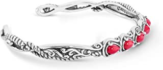 Sterling Silver Mulit Gemstone Choice of 4 Different Colors Five Stone Cuff Bracelet Size S, M or L