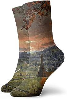 Hunter qiang, Calcetines para mujeres y hombres, de vino blanco con barril en la montaña de vino en Chianti, Toscana, Italia, calcetines deportivos de 30 cm