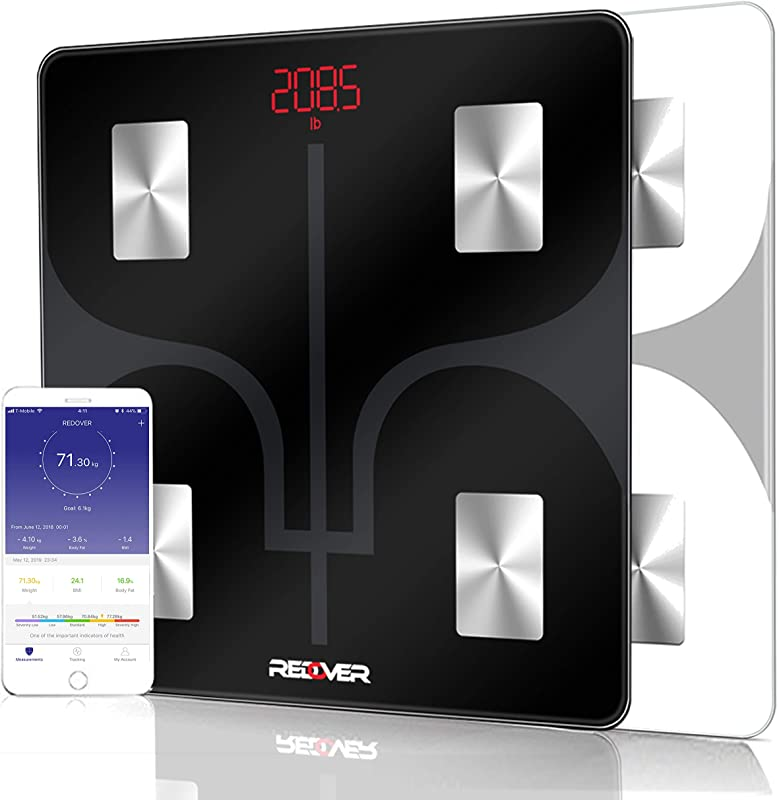 REDOVER Bluetooth Body Fat Scale With Free IOS Android App Smart Wireless Digital Bathroom Scale Body Composition Analyzer For Body Weight Body Fat Muscle Mass BMI BMR And More 400lb Black