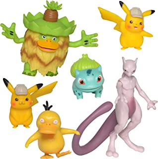 "Detective Pikachu Battle Action Figure 6-Pack – Includes two 2"" Detective Pikachu Figures, 2"" Psyduck, 2"" Bulbasaur, 3"" Mewtwo, and 3"" Ludicolo"