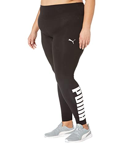 PUMA Plus Size Athletic Logo Tights (Puma Black/Puma White) Women