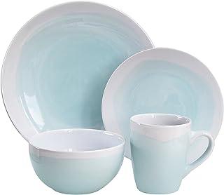 American Atelier Oasis Dinnerware Set (16 Piece), Mint/White