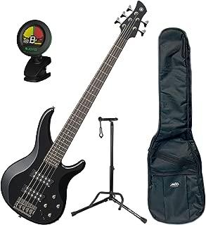 Yamaha TRBX305 BL TRBX-305 Black 5 String Bass Guitar w/ Gig Bag, Stand, and Tuner