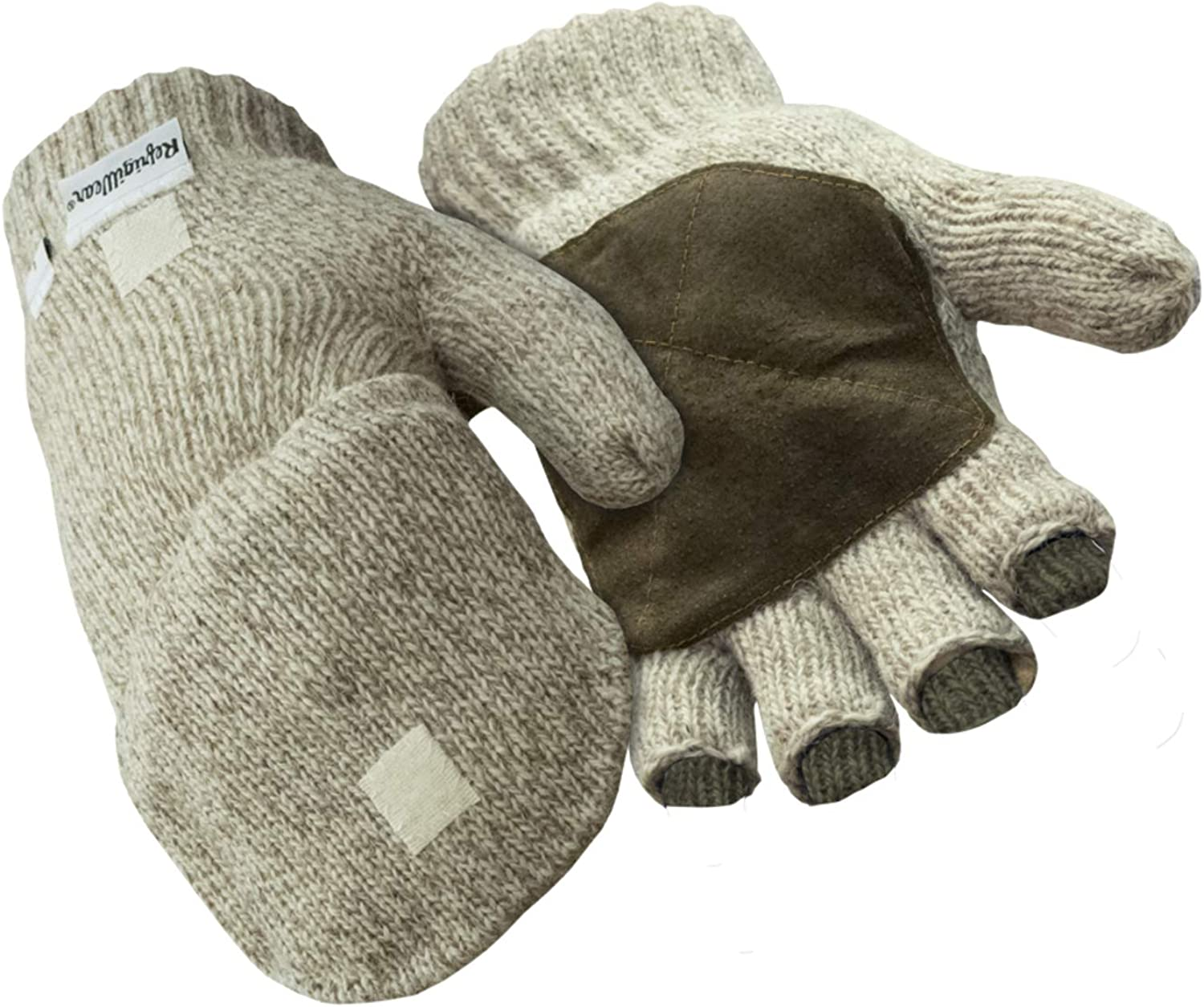 RefrigiWear Thinsulate Insulated Ragg Wool Convertible Mitten Fingerless Gloves with Suede Palm