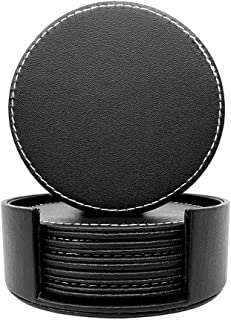 EXCOVIP PU Black Leather Coasters, Coasters Set of 6 with Holder, Coasters for Drinks, Heat-resistance Mats, Coffee Coaste...