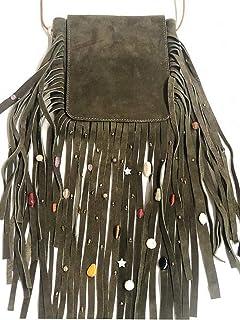 Kiki Boho   Mystica Verde Olivo, bolsa de piel color marrón con flecos de gamuza y piedras decorativas