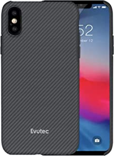 Evutec Case Compatible with iPhone Xs Max Karbon SP Hard Smooth Anti-Scratch, Real Aramid Fiber Strong Protective 0.7mm Slim Durable Snap-on Black Phone Cover