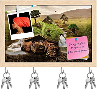 Artzfolio Conceptual Turtle Moves Key Holder Hooks | Notice Pin Board | Natural Brown Frame 17.6 X 12Inch