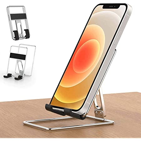 Cell Phone Stand for Desk, Senose Portable Foldable Metal Desk Phone Holder, Adjustable Cradle Dock Base Compatible with iPhone Samsung Galaxy Any Smartphone, Black