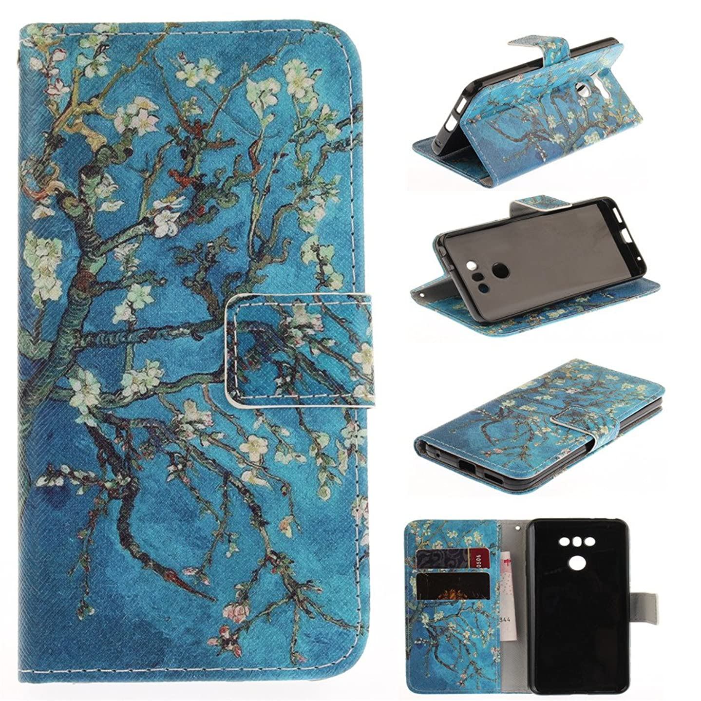 XYX Wallet Phone Case for LG G6,[Apricot Blossom Tree][Double Design][Kickstand][Card Slots] Premium PU Leather Phone Wallet Case for LG G6 (2017) H871 (AT&T) / H872 (T-Mobile) / LS993 (Sprint)