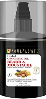 Soulflower Beard Moustache Oil for Men Facial Hair Growth, Softens & Grooming Beard & Moustache with 100% Pure & Organic E...