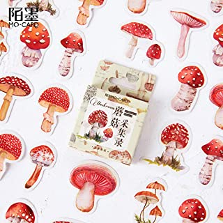 Mini Size Suitcase Stickers, 45pcs Doraking DIY Decorative Lovely Mushroom Illustration Stickers for Laptop, Calendars, En...