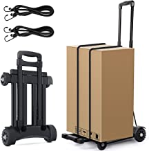 Luggage Cart, Hand Truck Portable Foldable Hand Trolley 4-Wheels Flat Luggage Cart with Telescopic Stainless Steel Three-fold Handle - 4 One-Direction Wheels Design