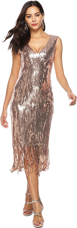 CHARTOU Women's Slim V Neck Sleeveless Metallic Sequin Tassel Midi Long Cocktail Dress