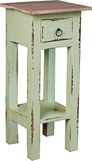 Sunset Trading Shabby Chic Cottage End Table, Small One Drawer, Bahama with Lime Wash Top