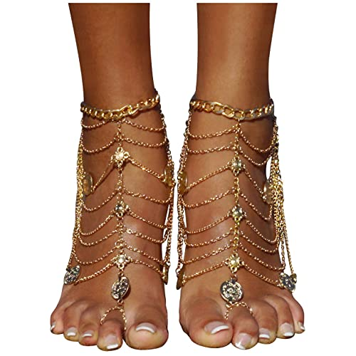 01adc59c0c21c Bienvenu 2 PCS Multi Chain Beach Tassels Anklet Chain Bracelet Barefoot  Sandals Foot Jewelry