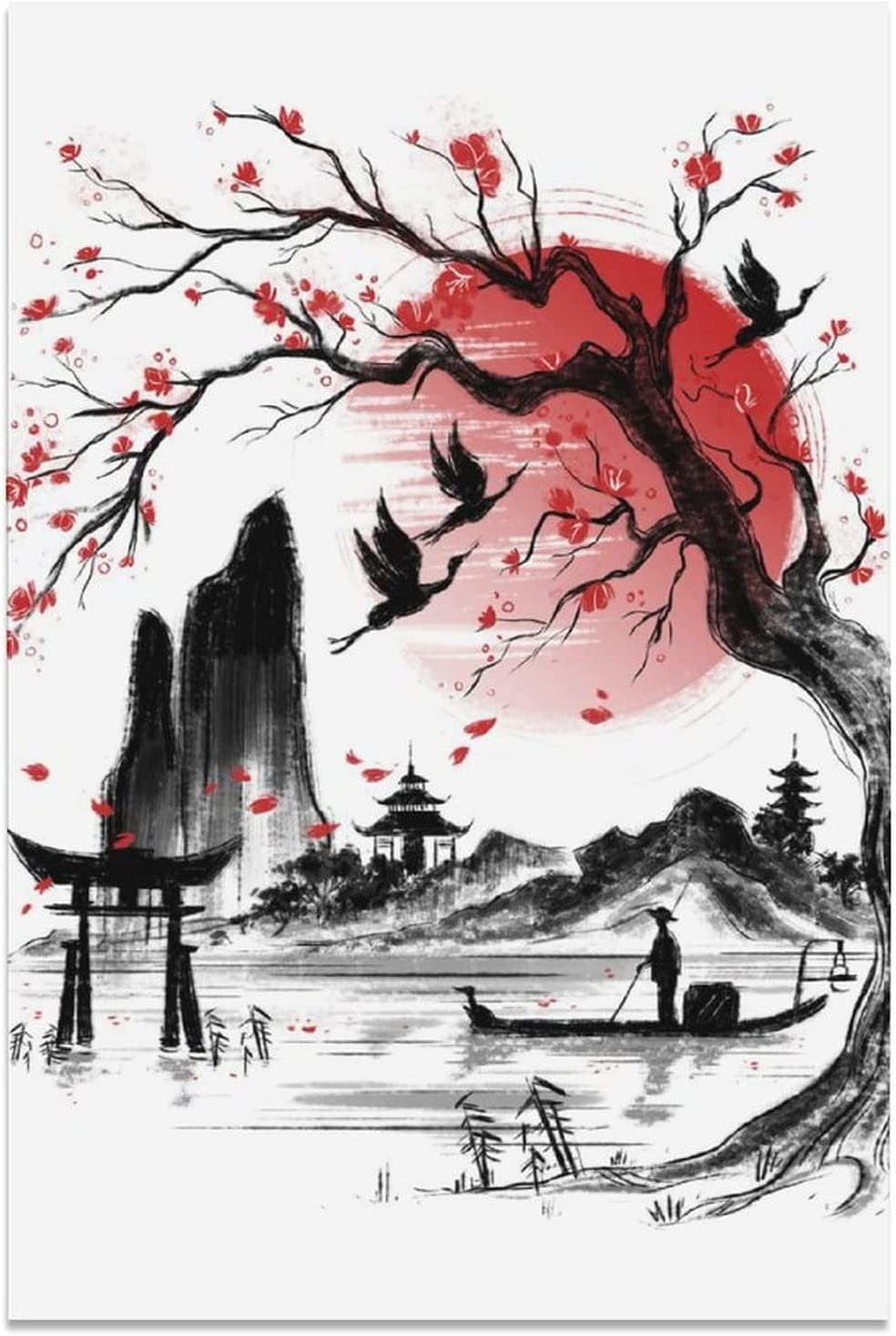 Japanese Cherry Blossom Landscape Ink Bed Painting Philadelphia Mall Poster Canvas Nippon regular agency