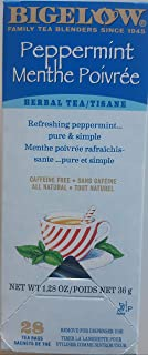 Bigelow Peppermint Herbal Tea 28-Count Box (Pack of 1) Caffeine-Free Bagged Herbal Tea in Individually Wrapped Foil Packet...