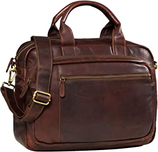 STILORD Atlas Serviette en Cuir pour Hommes et Femmes//Sac Enseignant en Cuir//Porte-Documents//Sac /à Bandouli/ère//Cartable Attachable//Cuir veritable Marron Couleur:Selle