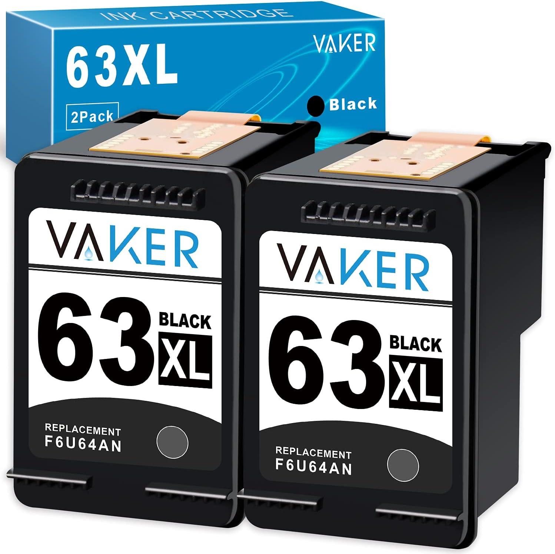 VAKER Remanufactured Inkjet Printer Ink Cartridge Tray Replacement for HP 63 63XL Combo Pack for OfficeJet 3830 5255 5258 5200 4650 4655 Envy 4520 4510 DeskJet 3631 3639 3632 3634 Printer (2 Black)