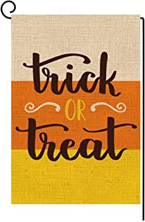 BLKWHT Trick or Treat Garden Flag Vertical Double Sided 12.5 x 18 Inch Halloween Yard Decor