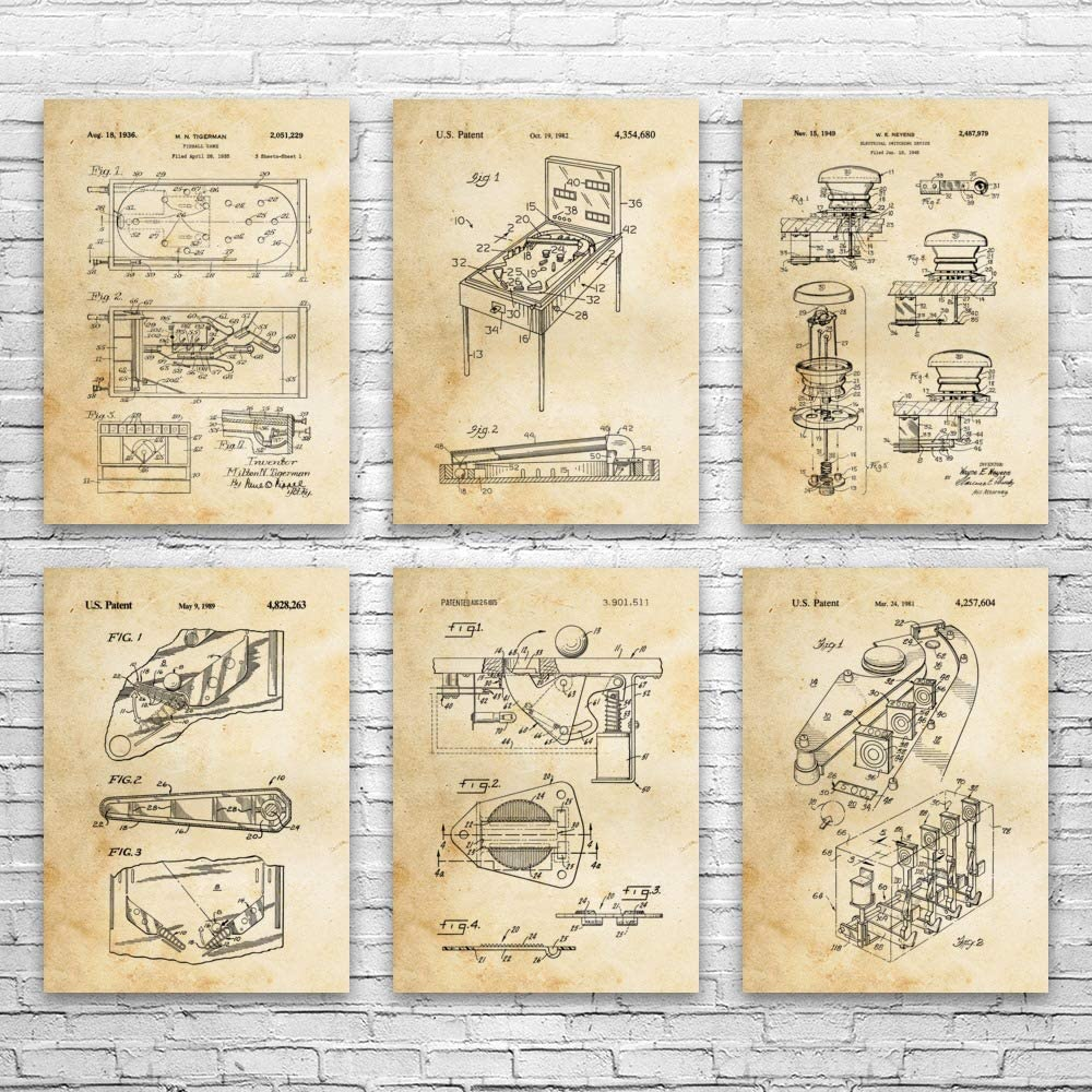 Pinball 価格 2020 新作 Patent Posters Set of Arcade 6 Gam Gift Decor