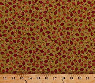 Cotton Leaves Fall Autumn Leaf Toss Thanksgiving Autumnal Patrick Lose Autumn Palette Small Leaves Landscape Moss Green Cotton Fabric Print by The Yard (62716-6470715)