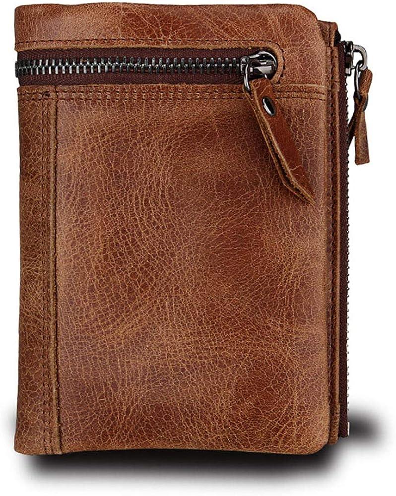 Hibate, portafoglio, porta carte di credito, in vera pelle per uomo, blocco rfid HD-024-BRO