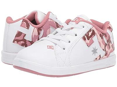 DC Kids Court Graffik Elastic SE (Toddler) (White/Camo) Girls Shoes