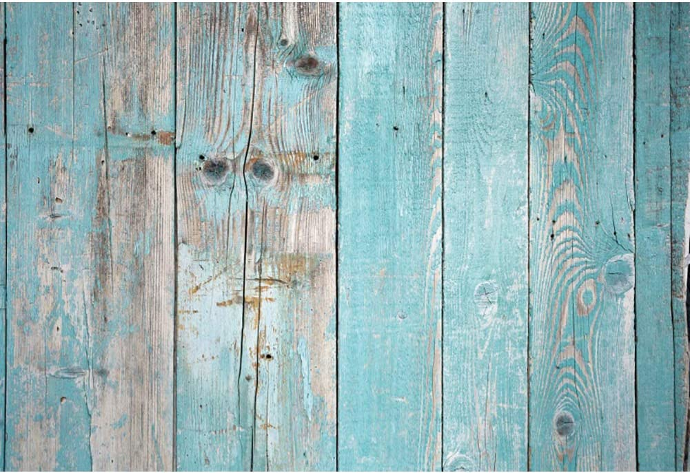 Leowefowa 9x6ft Limited 2021 autumn and winter new time sale Faded Wood Plank Wooden Board Phot Teal Backdrop