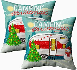 Musesh 18x18 Pillow Cases, Pack of 2 Christmas Vintage Travel Poster with Trailer in Winter Illustration. for Sofa Home Decorative Pillowcase Throw Pillow Covers