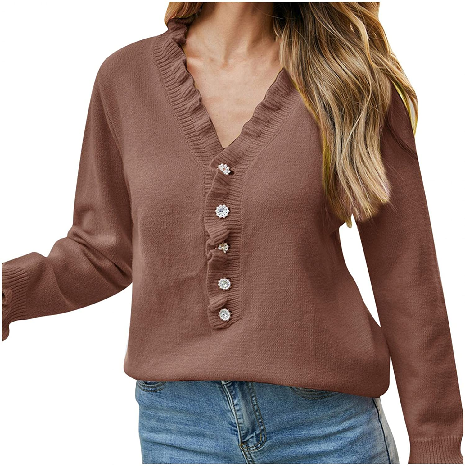 Changeshopping Women's Knit Sweater Button Loose Short Floral Print V-Neck Long Sleeve Sweater