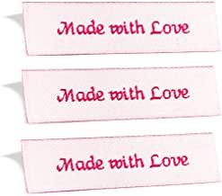 Wunderlabel Made with Love Crafting Craft Art Fashion Woven Ribbon Ribbons Tag for Clothing Sewing Sew on Clothes Garment Fabric Material Embroidered Label Labels Tags, Red on White, 50 Labels