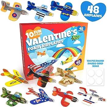 XJF 32pcs Valentines Foam Airplanes and 32pcs Valentines Card for Kids,Valentines Day Gifts for Kids