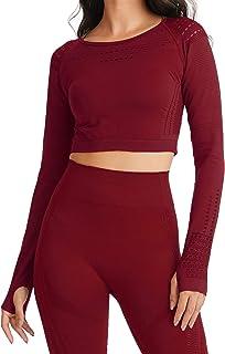 Women's Workout Crop Top Long Sleeve Gym Flawless Knit Seamless Shirts