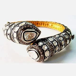 Yellow Gold Pave Rose Cut Diamond Women Bangle, Women Vintage Boho Diamond Bangle, Antique Bridal Wedding Gift Polki Flat Cut Diamond Bangle