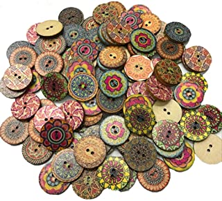 200 PCS Wood Buttons, Vintage Wood Buttons with 2 Holes for DIY Sewing Craft Decorative