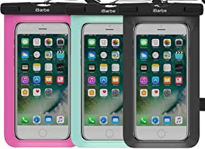 Waterproof Case,3 Pack Universal Cell Phone Underwater Dry Bag Pouch Compatible with iPhone X XR XS MAX 8 Plus 7 Plus 6S 6 6S Plus SE Galaxy Note s9 s s8 LUS S7 S6 Edge etc.to 5.7 inch,black+Rose+whit