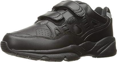 Propet Women's Stability Walker Strap Sneakers, Black Leather, Polyurethane, EVA, Rubber, 10 M