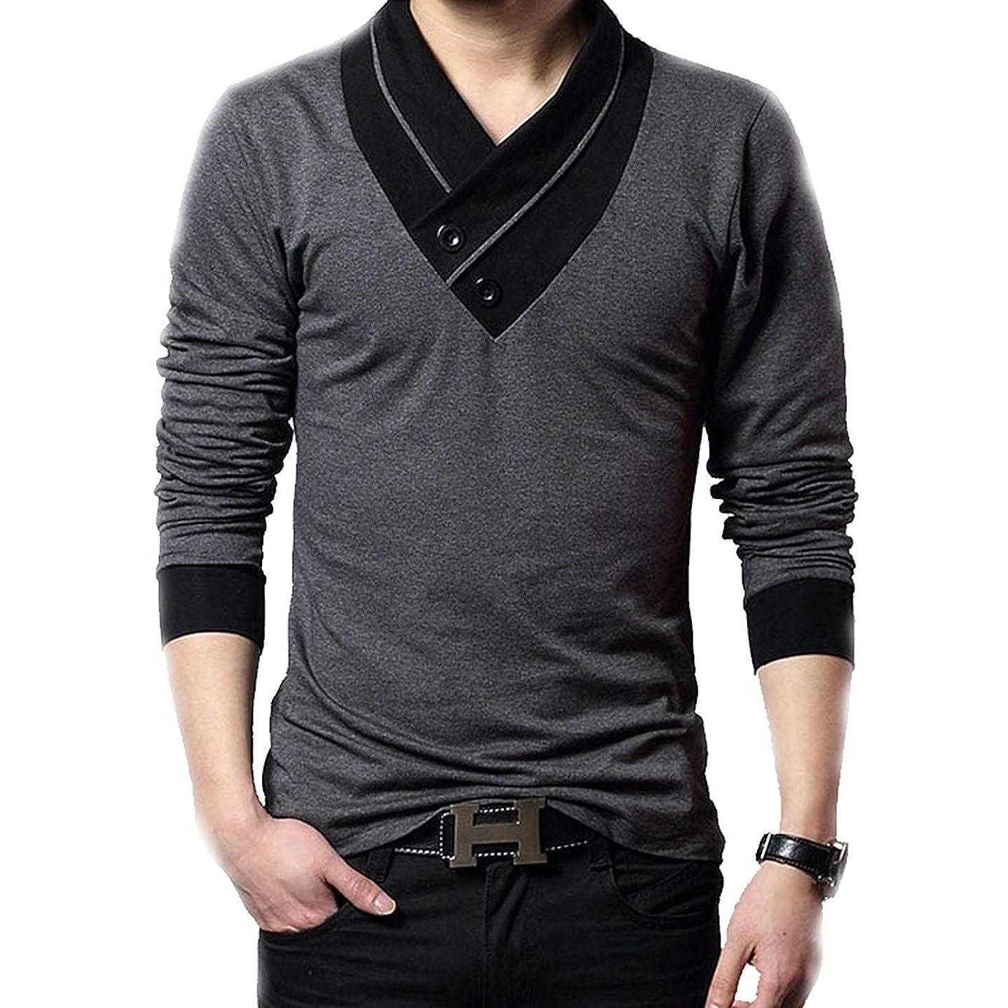 禁止する愛国的な幾何学(メイク トゥ ビー) Make 2 Be スリム Vネック 半袖 Tシャツ スカーフ風 カジュアル シャツ MF01